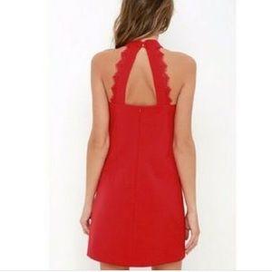 Lulu's Red Lace Halter Dress